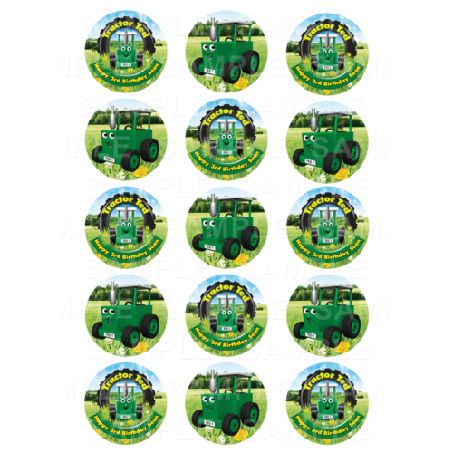 "15 x 2"" - Tractor Ted Edible Cupcake Toppers - Tractor Ted Edible Image Cupcake Toppers"