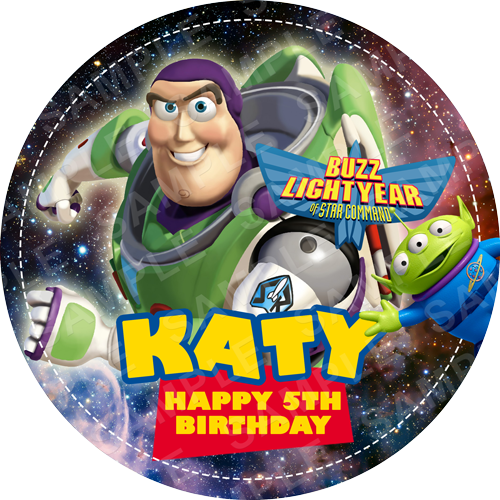 Buzz Lightyear Edible Cake Topper - Toy Story Edible Image - Round