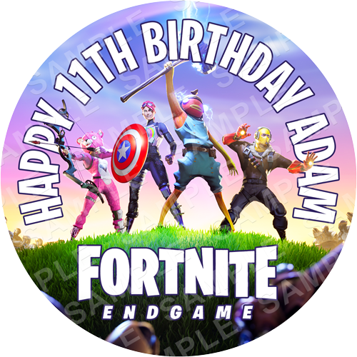 Fortnite End Game Edible Cake Topper - Fortnite Edible Image - Round