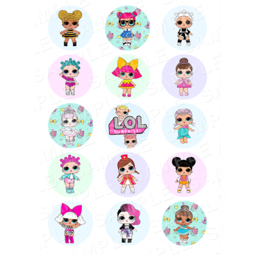 "15 x 2"" - LOL Doll Edible Cupcake Toppers - LOL Doll Edible Image Cupcake Toppers"