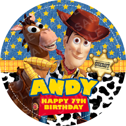 Woody Edible Cake Topper - Toy Story Edible Image - Round