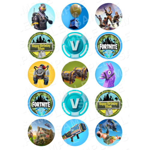 "15 x 2"" - Fortnite Edible Cupcake Toppers - Fortnite Battle Royale Edible Image Cupcake"