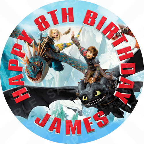 How To Train Your Dragon Edible Cake Topper - How To Train Your Dragon Edible Image - Round