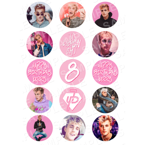 "15 x 2"" - Jake Paul Edible Cupcake Toppers - Jake Paul You Tuber Edible Image Cupcake"