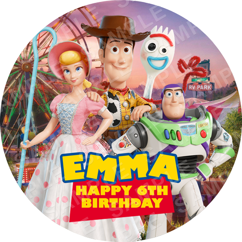 Toy Story 4 Edible Cake Topper - Toy Story 4 Edible Image - Round