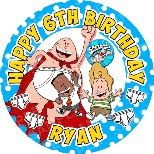 Captain Underpants Edible Cake Topper - Captain Underpants Edible Image - Round