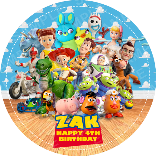 Toy Story 4 Edible Cake Topper - Toy Story Edible Image - Round
