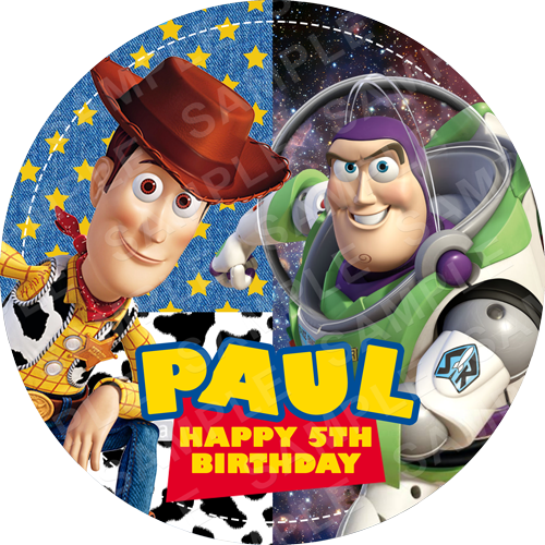Woody and Buzz Edible Cake Topper - Toy Story Edible Image - Round