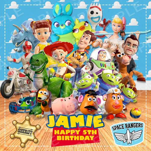 Toy Story 4 Edible Cake Topper - Toy Story Edible Image - Square