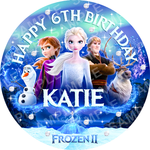 Frozen 2 Edible Cake Topper - Frozen Edible Image - Round