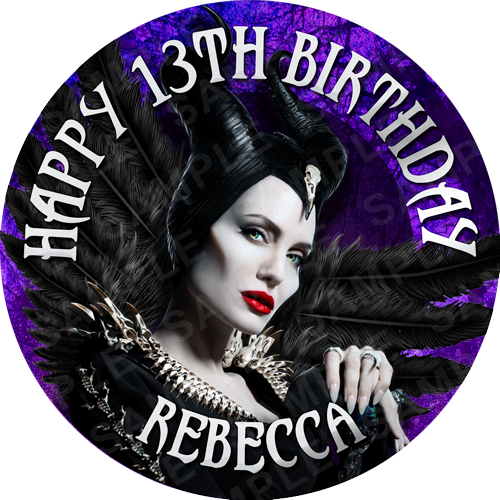 Maleficent Edible Cake Topper - Maleficent Edible Image - Round