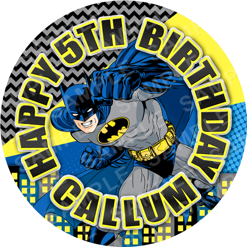 Batman Edible Cake Topper - Batman Edible Image - Round