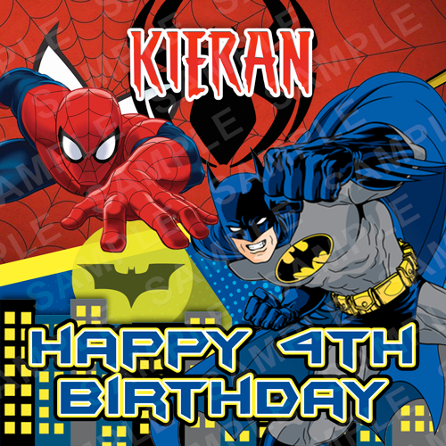 Batman Spiderman Edible Cake Topper - Batman Spiderman Edible Image - Square
