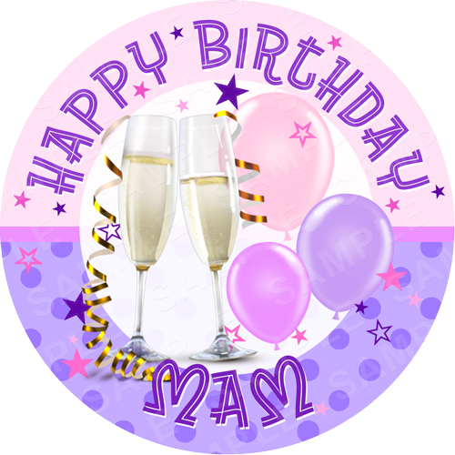 Birthday Champagne Edible Cake Topper - Birthday Edible Image - Round