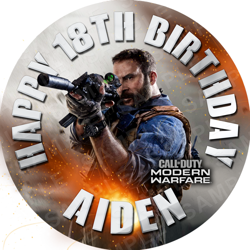 Call of Duty Edible Cake Topper - Call of Duty Modern Warfare Edible Image - Round