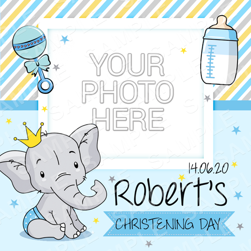 Baby Elephant Christening Edible Cake Topper - Elephant Christening Edible Image - Square