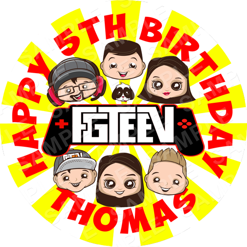 FGTeev Edible Cake Topper -The Family Gaming Network Edible Image - Round