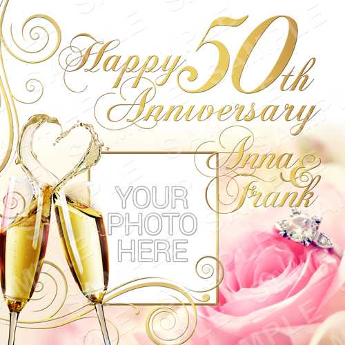 Golden Wedding Anniversary Edible Cake Topper - 50 Year Anniversary Edible Image - Square