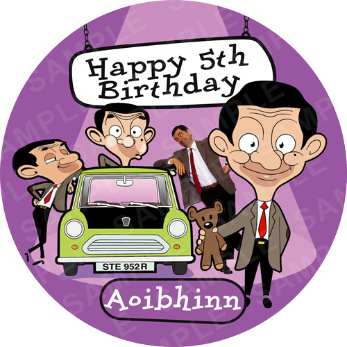 Mr Bean Edible Cake Topper - Mr Bean Edible Image - Round