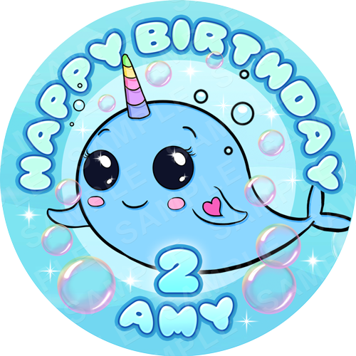 Narwhale Edible Cake Topper - Narwhale Edible Image - Round