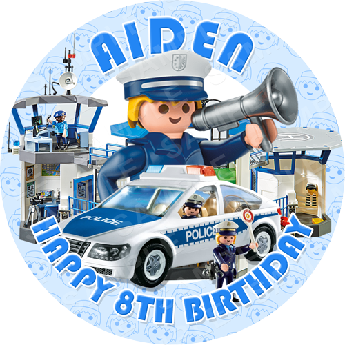 Playmobil Edible Cake Topper - Playmobil Police Edible Image - Round