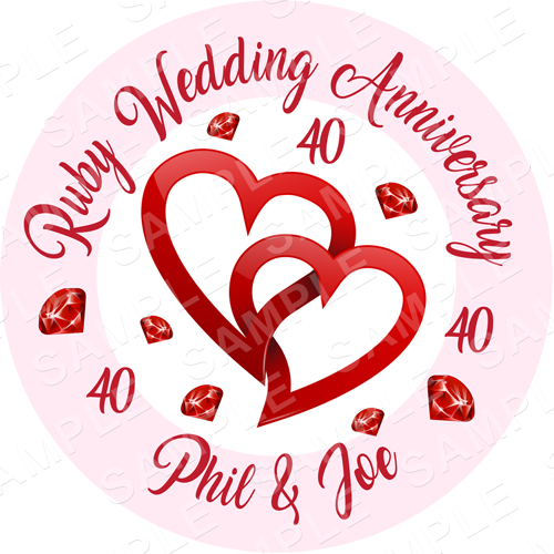 Ruby Wedding Anniversary Edible Cake Topper - 40 Year Anniversary Edible Image - Round