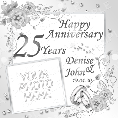 Silver Wedding Anniversary Edible Cake Topper - 25 Year Anniversary Edible Image - Square