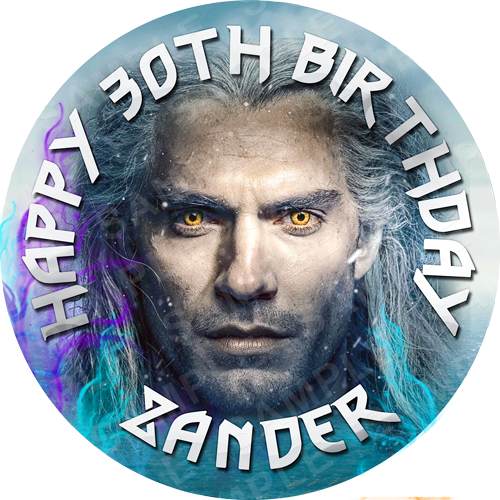 The Witcher Edible Cake Topper - The Witcher Edible Image - Round