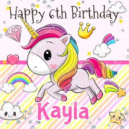 Unicorn Edible Cake Topper -Unicorn Edible Image - Square