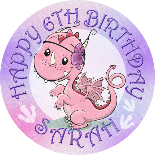 Dragon Edible Cake Topper - Dragon Edible Image - Round