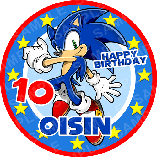 Sonic Edible Cake Topper - Sonic The Hedgehog Edible Image - Round