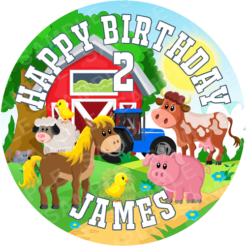 Farm Edible Cake Topper - Farm Edible Image - Round