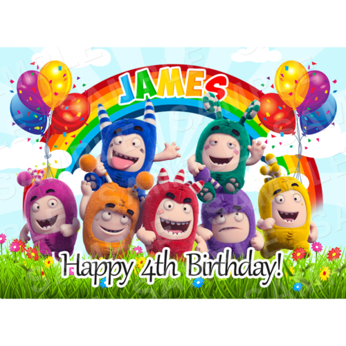 Oddbods Edible Cake Topper - Oddbods Edible Image - Rectangle (A4, A3, Quarter Sheet, Half Sheet)