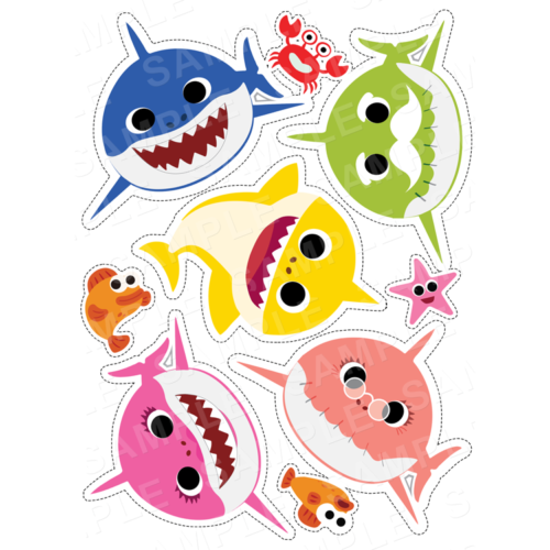 Baby Shark Stand Up Edible Cake Toppers - Baby Shark Cut Outs - Edible Icing - Wafer Card