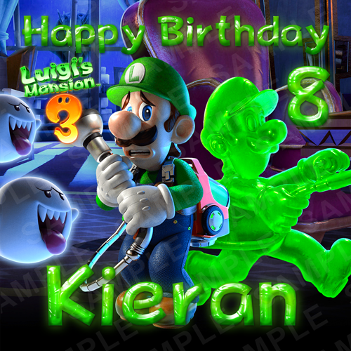 Luigi's Mansion Cake Topper - Luigi's Mansion Switch Edible Image - Square