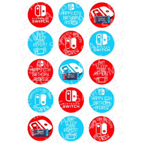 "15 x 2"" - Nintendo Switch Edible Cupcake Toppers - Switch Edible Image Cupcake"