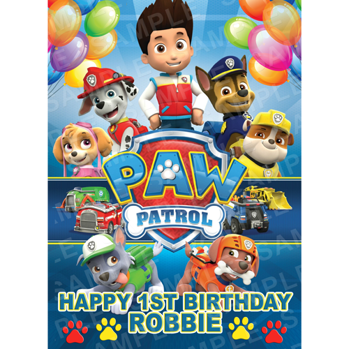 Paw Patrol Edible Cake Topper - Paw Patrol Edible Image - Rectangle (A4, A3, Quarter Sheet, Half Sheet)