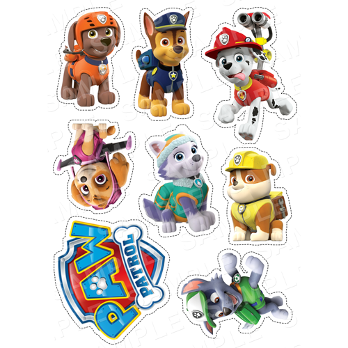 Paw Patrol Stand Up Edible Cake Toppers - Paw Patrol Cut Outs - Edible Icing - Wafer Card