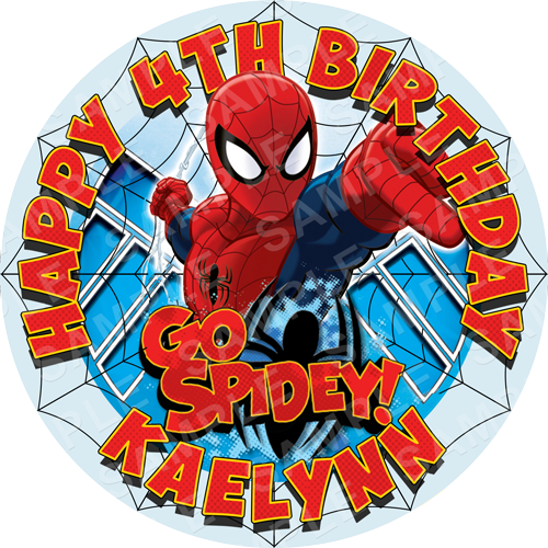 Spiderman Edible Cake Topper - Spiderman Game Edible Image - Round