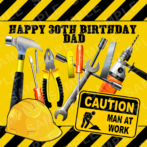 Dad Tools DIY Edible Cake Topper - Dad Tools DIY Birthday Edible Image - Square