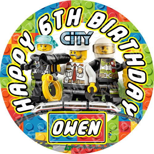 Lego City Edible Cake Topper - Lego City Edible Image - Round
