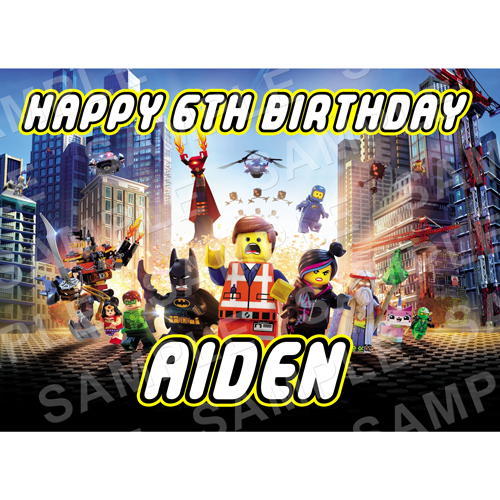 Lego Movie Edible Cake Topper -Lego Movie Edible Image - Rectangle (A4, A3, Quarter Sheet, Half Sheet)