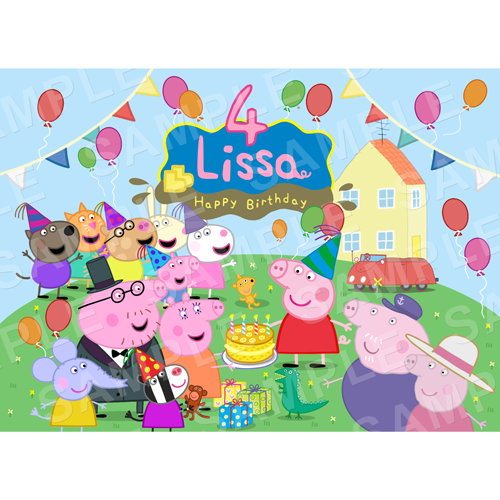 Peppa Edible Cake Topper - Peppa Edible Image - Rectangle (A4, A3, Quarter Sheet, Half Sheet)