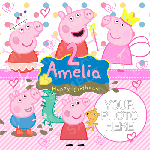 Peppa Edible Cake Topper - Peppa Edible Image - Square