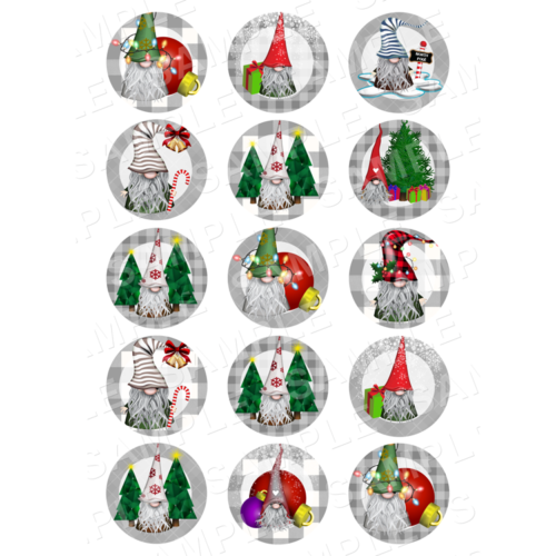 "15 x 2"" - Christmas Gonks Gnomes Edible Cupcake Toppers - Xmas Gonks Gnomes Edible Image Cupcake"
