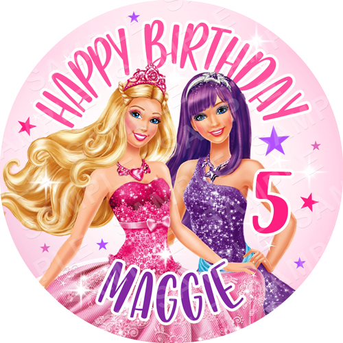 Barbie Edible Cake Topper - Barbie Edible Image - Round