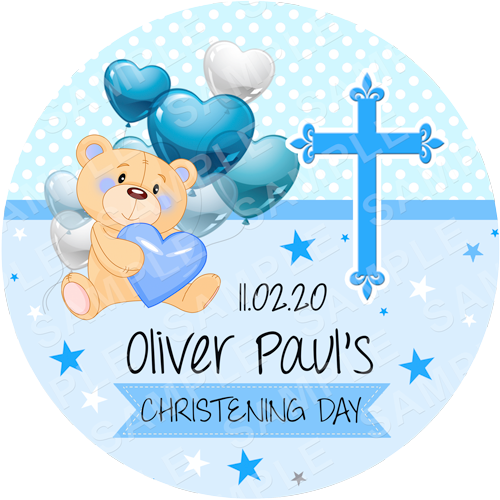 Christening Bear Edible Cake Topper - Christening Bear Edible Image - Round