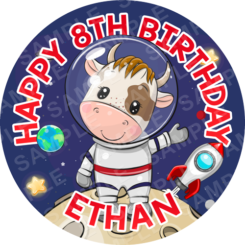 Space Cow Edible Cake Topper - Space Cow Edible Image - Round