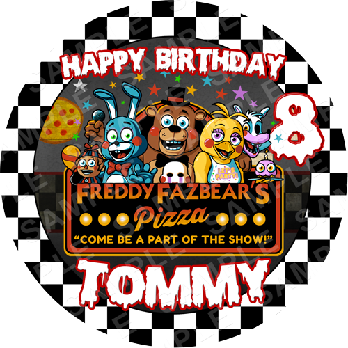 FNAF Edible Cake Topper - Five Nights At Freddys Edible Image - Round