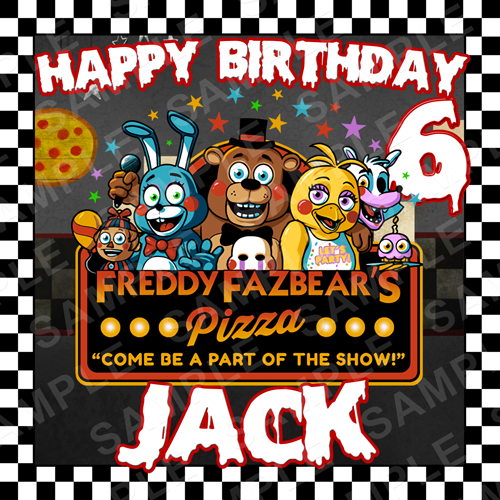 FNAF Edible Cake Topper - Five Nights at Freddys Edible Image - Square